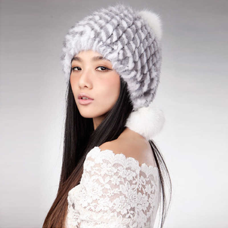 14621 Nieuwe Gebreide Real mink hoed bont cap vossenbont pompom decoratie beanie hoed hoofddeksel hoofd warmer hoofdtooi