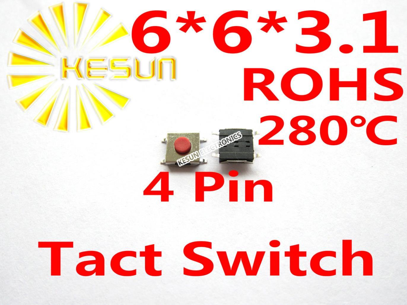 1000 Adet Smt 6x6x31 Mm 4pin Dokunsal Tact Push Button Mikro Anlk Pin Sablon Thailand 12mm Rohs Anahtar