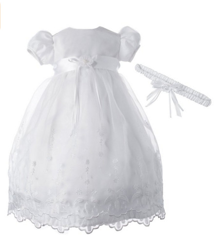 2016 Baby Infant Todder Handmade Christening Dress Baptism Gown Lace Satin White/Ivory With Headband Free Shipping