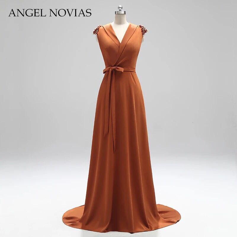 ANEGL NOVIAS Long Elegant Caramel Arab   Evening     Dress   2018 Turkey with Sash Party   Dress