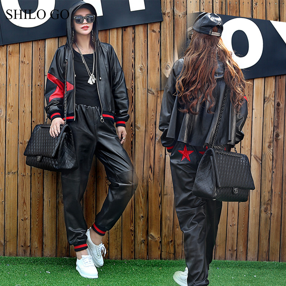 SHILO GO Leather Suit Womens Spring Fashion Sheepskin Genuine Sets Hooded Spliced Star Casual Jacket Loose Harem Pants