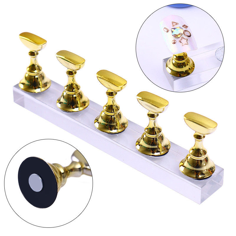 New Magnetic Acrylic Manicure Tools Nail Practice Hand Nail Exercises Pedestal Nail Supplies Nail Tips Display Stand Gold