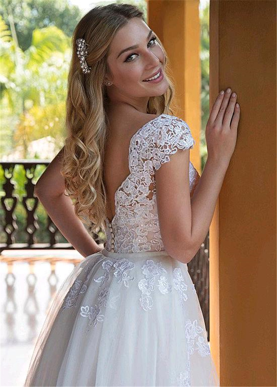 Image 3 - Tulle V neck Neckline 2 In 1 Wedding Dresses With Lace Appliques & Beadings Two Pieces Bridal Dress with Detachable Skirt-in Wedding Dresses from Weddings & Events
