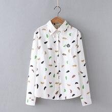 222260e349 2019 printemps automne coton linge chemises femmes japonais Style frais  plume imprimer lâche Blouses femme tout Match fond Blusa.