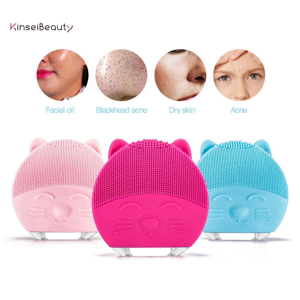 Electric Silicone Facial Cleansing Brush Sonic Cleansing Face Cleanser Massager Washing Exfoliation Blackhead Removal Pore Clean