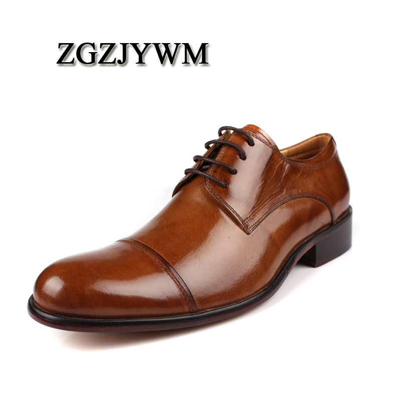ZGZJYWM Luxury Brand Men Pointed Toe Brown/Black Men Flat Soft Leather Lace Up Oxford Shoes For Men Wedding Shoes Big Size 38-46 цена