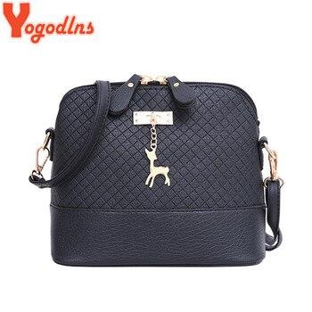 Yogodlns New female bags quality pu leather soft face women bag wild shoulder messenger bag Quilted shell bag pendant cute deer