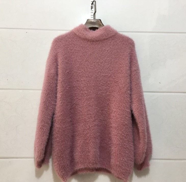Color Casual Warm Blue Simple Sweater Slim Winterthickened pink green 2018 Sleeve Turtleneck white Mohair Solid Femalelantern Pullover wHqznWg01