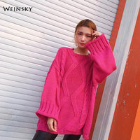 Weinsky Oversized Women Knitted Sweater And Pullovers Casual Pink Korean Sweater Solid Color Women Jumpers Sweaters