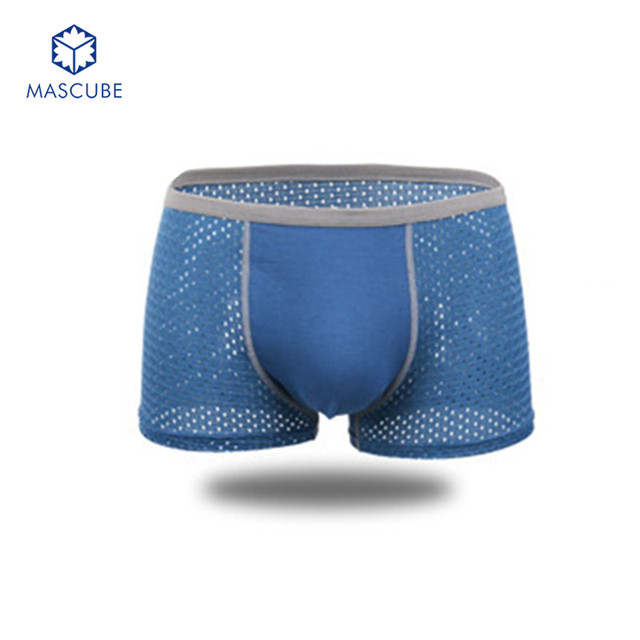 [MASCUBE]Quick Drying Men's Ice Silk Underwear Modal Cotton Sexy Mesh Boxers Men Underwear Breathable Underpants Cueca Masculina