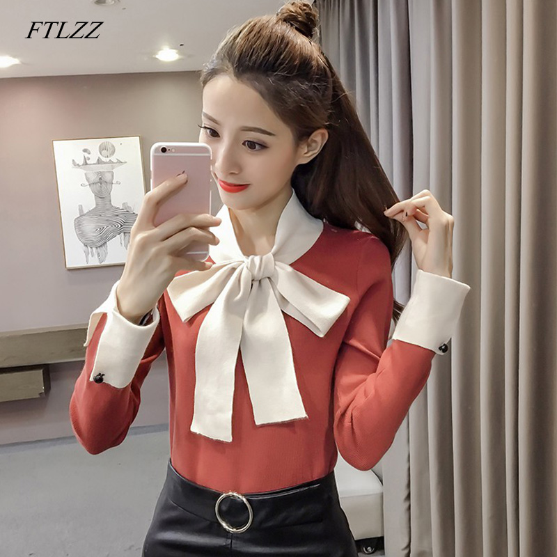 FTLZZ 2020 New Women Butterfly Collar Sweaters Tops With Bow Sweater Lady Office Long Sleeve Pullover Jumper Tops
