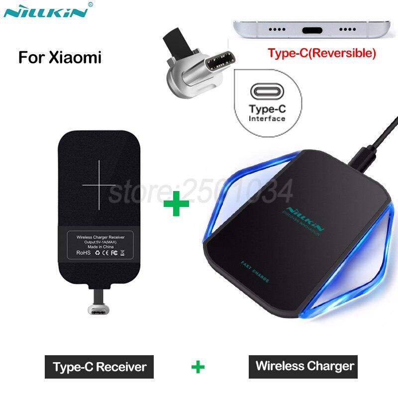 Nillkin Qi Wireless di Ricarica per Xiao mi mi 8 6 6x5 5x wireless charger Pad + Tipo- C Ricevitore per Xiao mi mi 6 mi 5 mi 5x nota 3 A1 A2