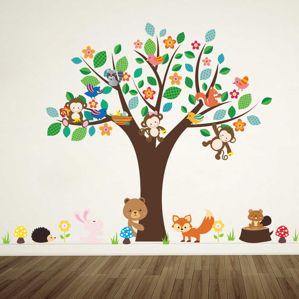 Wall Sticker Home Decor Animals Palm Tree Kids Bedroom Nursery Classroom Decors