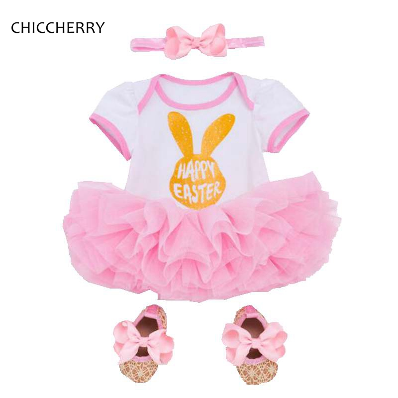 Rabbit Easter Outfit Jumpsuit Lace Petti Romper Dress Headband Crib Shoes 3-Piece Toddler Girls Clothing Set Baby Girl Clothes
