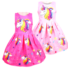 Baby girl clothes Summer unicorn dress kids dresses for Girls Halloween costume cosplay Party Vestidos 8617
