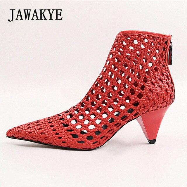 ff5f43326d3 JAWAKYE Elegant Retro Red Gladiator Sandals Womens Cut Outs Mesh Leather  Block Chunky Spike High Heels