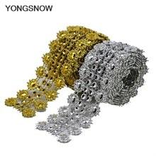 1yard or argent strass ruban Motifs ruban bricolage cristal Densify strass coupe coupe chaîne sur colle accessoires de couture