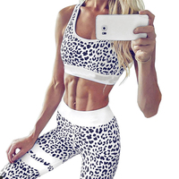 Hot Style Leopard Printed Sportswear Women Sets Casual Elastic Workout Leggings Pants Women Bodybuilding Fitness Movement