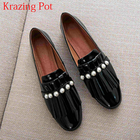 2018 Fashion Round Toe Large Size Fringe Loafer Pearl Genuine Leather Slip on Women Flats Comfortable Elegant Casual Shoes L9f5