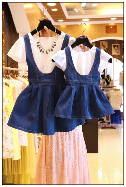 Preax Дети Летом мать и дочь одежда мама мне устанавливает короткий рукав футболки + джинсовой подвеска платье семья соответствия наряды