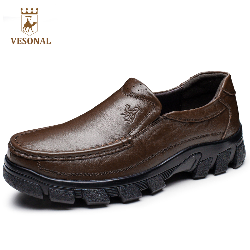 VESONAL 2017 Brand Casual Shoes Men Loafers Adult Quality Soft Mocassin Male Shoes Footwear Genuine Leather Ons Driver Man Boat купить