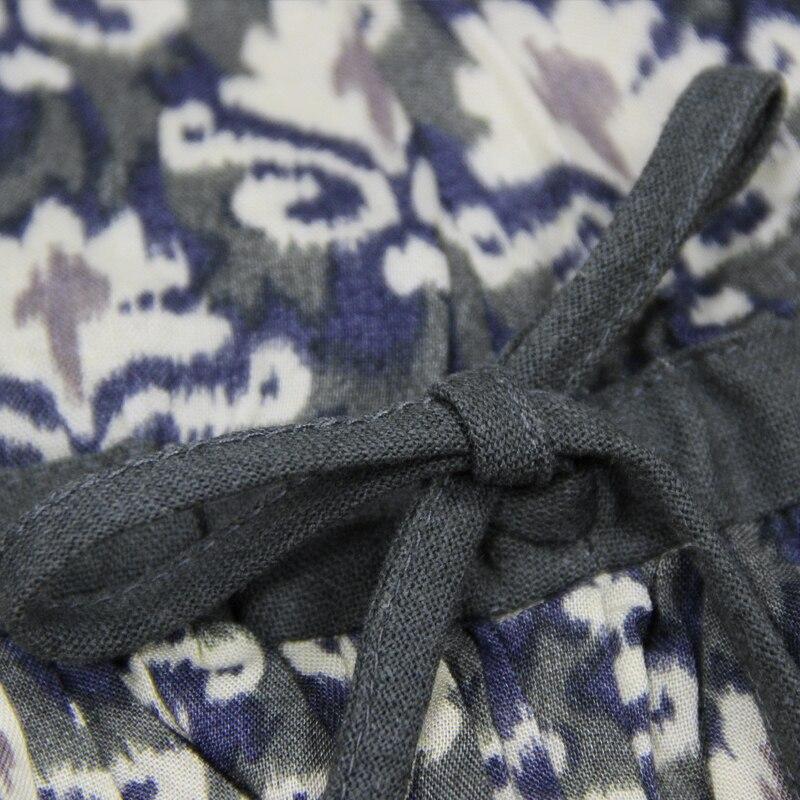 O Taille Lin Catalogne Femme Coton Imprimée Evasées Série Nouvel Robe Mini Basse Été cou Manches kPn0Ow8