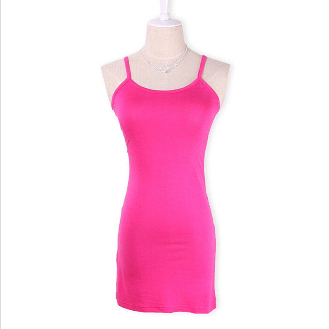 Новинка, Женская эластичная кофточка на бретельках, Длинный топ на бретелях, Мини Короткое платье, летнее повседневное сексуальное платье без рукавов для женщин - Цвет: rose red