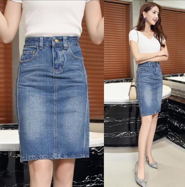 cca495a27df 2018 Spring Summer women jeans skirt Fashion Classic high waist Sexy Slim  Bodycon Denim skirt Women Pencil Skirt s1784-in Skirts from Women s  Clothing on ...