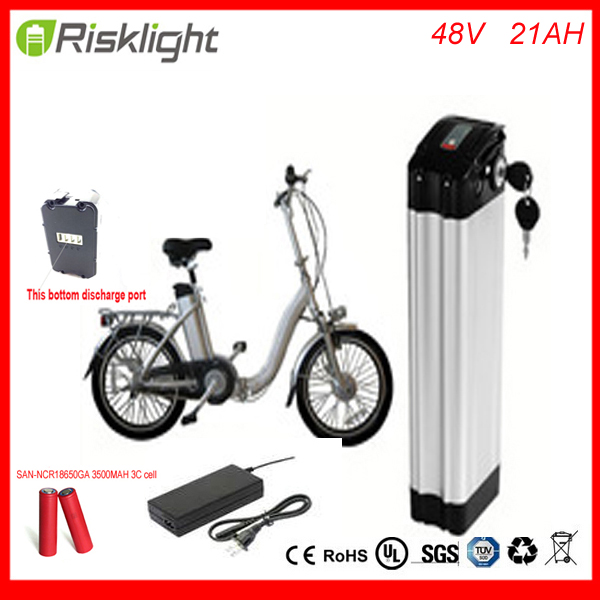 Bottom discharge Electric Bike Battery 48V 21Ah Silver Fish lithium ion battery with Aluminum case and 2A charger for Sanyo cell 30a 3s polymer lithium battery cell charger protection board pcb 18650 li ion lithium battery charging module 12 8 16v