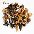 10Pcs Lots Tiger Eye Faceted Pyramid Stone Pendant Wholesale Pendulum Healing Point Dowsing Reiki Chakra Men Women DIY Jewelry