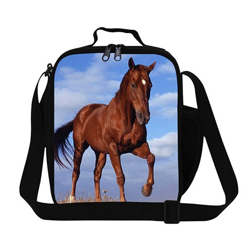 horse black  lunch bag