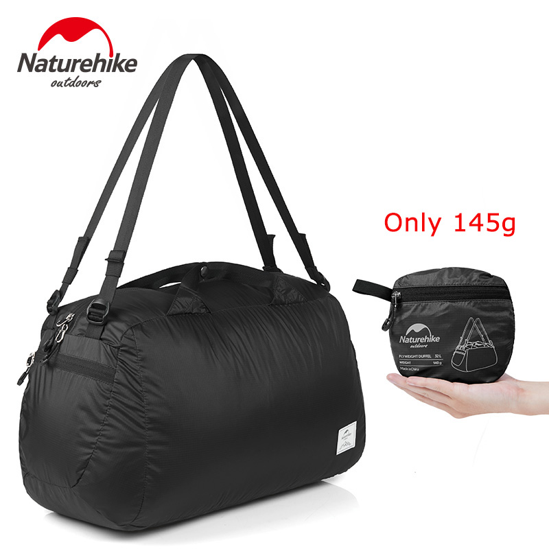 Naturehike Travel Bag Folding Bag Portable Molle Tote Waterproof Nylon Travel Duffel Bag Black luggage