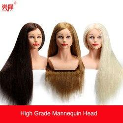 24 hohe Grade 80% Echt Haar Friseur Kopf Dummy Schönen Puppen Blonde Haar Ausbildung Kopf Mit Schulter Mannequin Kopf mit Haar