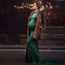 Fashion Green Maternity Dress Full Maxi Pregnant Woman Dresses for Photo Shoot Gown Pregnancy Photography Prop