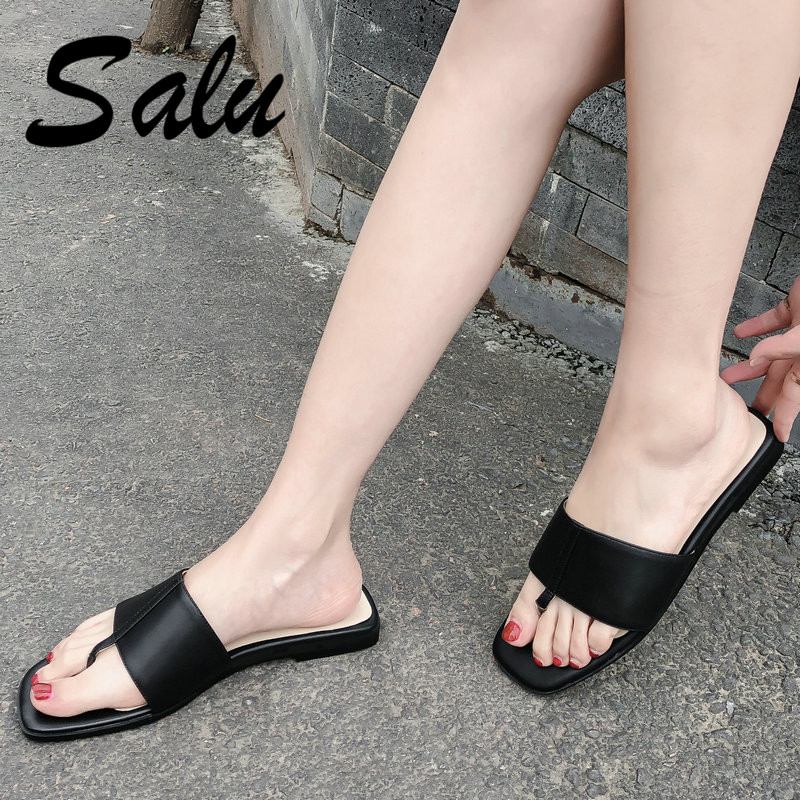 Salu Summer Soft Comfortable Flat Sandals for Women Casual Ladies Flat Sandals Genuine Leather Thong Sandals