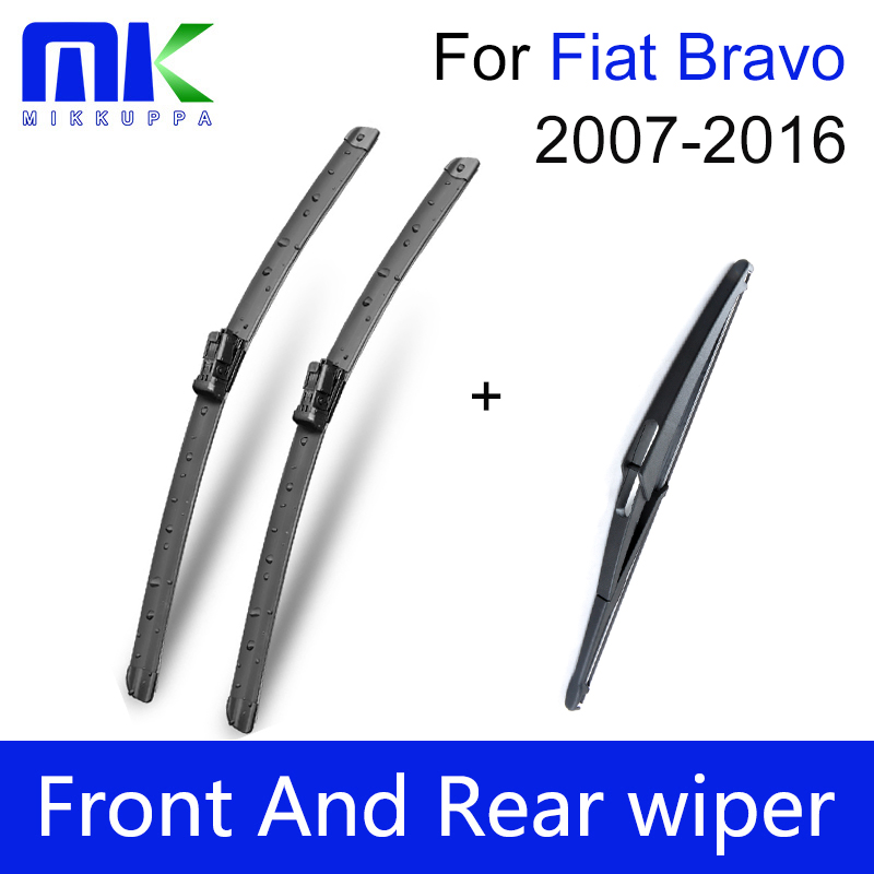 Combo Front And Rear Wiper Blades For Fiat Bravo 2007 Onwards fit push button type wiper arms Windscreen Wipers Car Accessories
