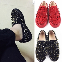 Mens Big Rivet Spikes Studded Real Leather Flats loafers Sneaker Low Top Punk Casual Shoes Black Red A337