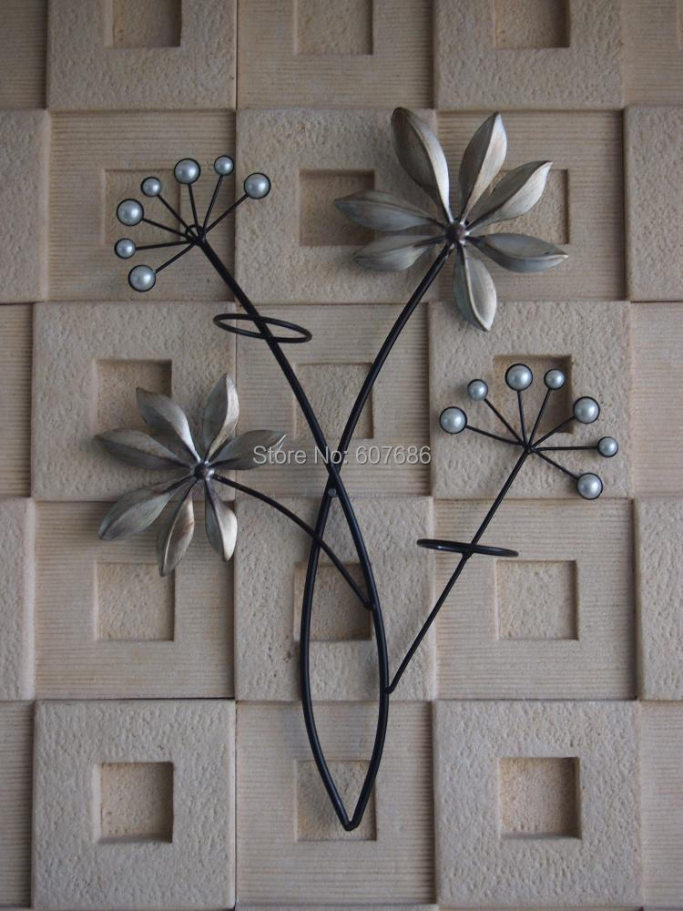 2 Pieces Vintage Iron Metal Acrylic Flower Wall Hanging Art Candle Wall Sconce Home Kitchen Bedroom Sitting Room Decor Free Ship
