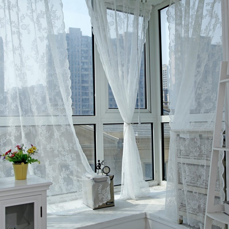 Panel Sheer Voile Window Curtain Panel Drape Room Floral Tulle Scarfs Valances