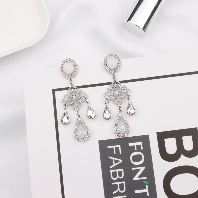MENGJIQIAO New Baroque Style Opal Stone Water Drop Crystal Tassel Earrings For Women Vintage Statement Flower Long Pendientes 2