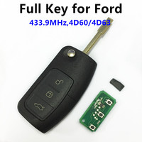 For FORD Mondeo Focus Fiesta C Max S Max Galaxy 3 Buttons 433MHz With 4D60 Chip