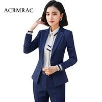 ACRMRAC Women Long sleeves Slim jacket Skirt set OL Formal Skirt Suits Business suit