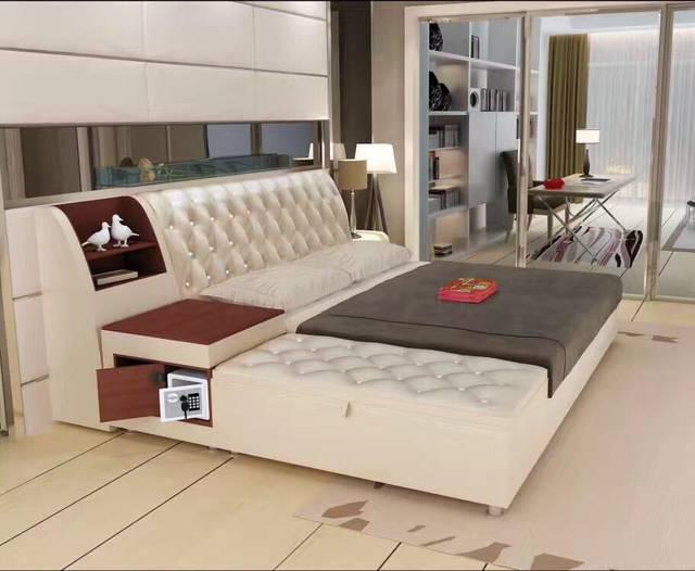 Tienda Online Post Modern cuero genuino Verdadero/cama king/Queen ...