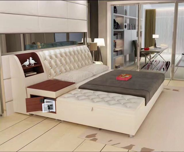 post modern real genuine leather bed / soft bed/double bed king/queen size bedroom home furniture with storage box and sideboard