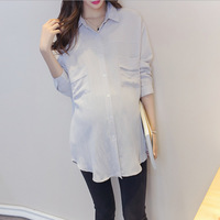 Autumn Maternity shirts Long sleeve Korean Casual Pregnant clothes Big pocket middle length cotton women tops white Blouse