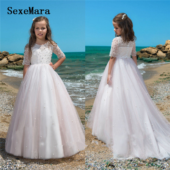 Gorgeous Luxury Ivory White Flower Girls Dresses for Wedding Half Sleeve Tulle Pearls Little Girls Birthday Gown Communion Dress 100w original ijoy saber 20700 vw kit with 1x20700 battery