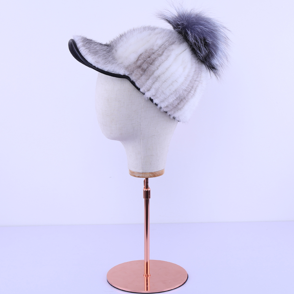 Luxury New 2017 Genuine Real Mink Fur Striped Silver Fox Fur Pom Poms Baseball Caps Winter Bomber Fur Hats Earmuffs Cap