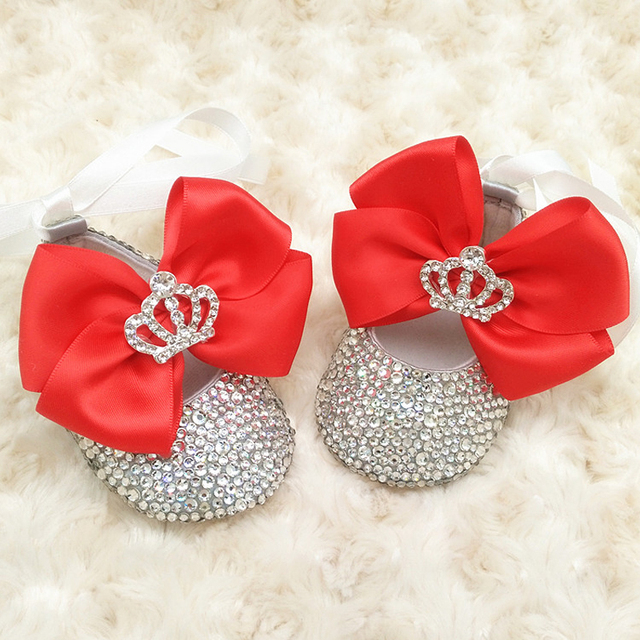6bc6f3d07cca Custom Sparkle Red bow princess rhinestone baby Shoes handmade pearl baby  toddler bling bling First Walkers baby girl shoes