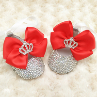 Custom Sparkle Red bow princess rhinestone baby Shoes handmade pearl baby toddler bling bling First Walkers baby girl shoes