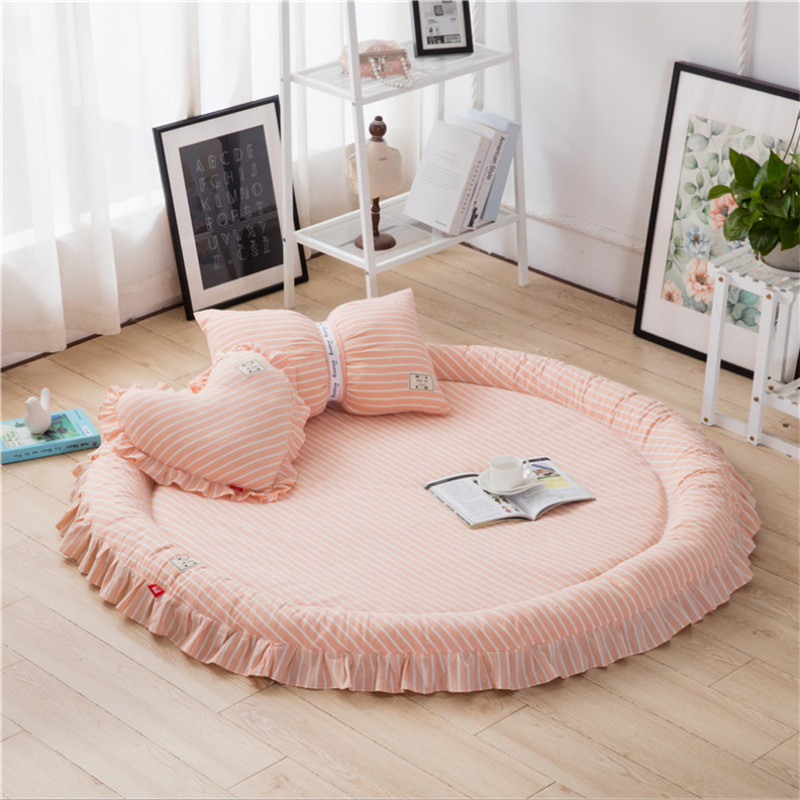Detachable Baby Rug Crawl 140cm Cotton Developing Mat For Babies Kawaii Kids Rug With Pillow Baby Room Decoration Puzzle Girls